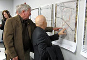 local representatives reviewing station area maps