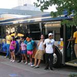 UMKC students waiting to board MAX bus