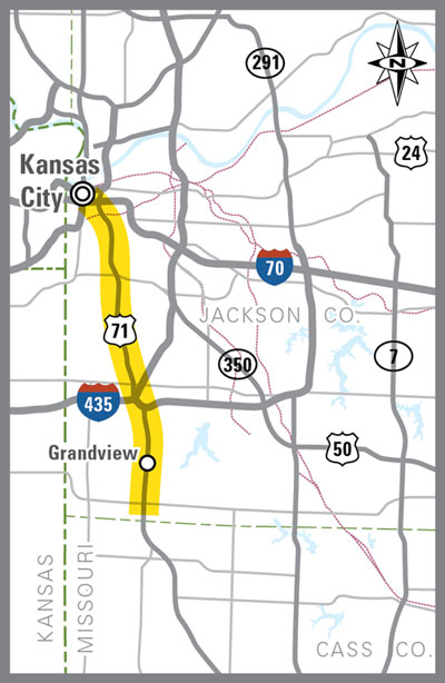 U.S 71 Transit Study map of corridor
