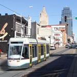 photo illustration of streetcar operating on Main Street